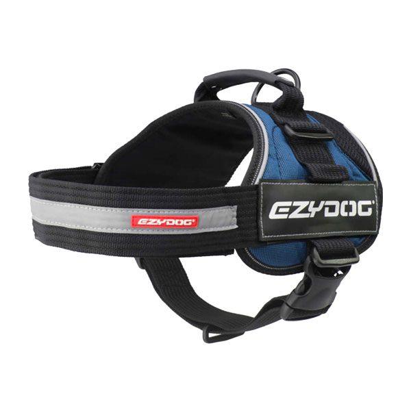Ezydog Converttuig kleur Blauw maat Maat 2XS - 2XL met tekstlabels die gepersonaliseerd kunnen worden door K9-label
