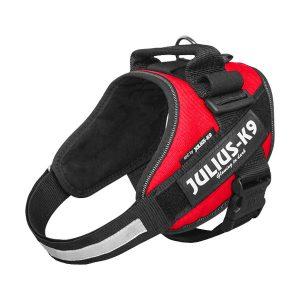 Julius IDC Powertuig kleur Rood maat Maat 0 met tekstlabels die gepersonaliseerd kunnen worden door K9-label