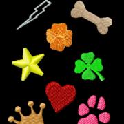 Symbolen geborduurde labels