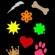 Symbolen bedrukte labels