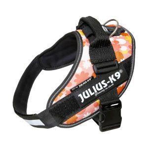 Julius IDC Powertuig kleur Pink Flower maat Maat 0 met tekstlabels die gepersonaliseerd kunnen worden door K9-label