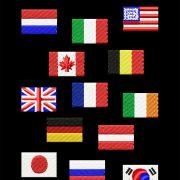 Vlaggen geborduurde labels